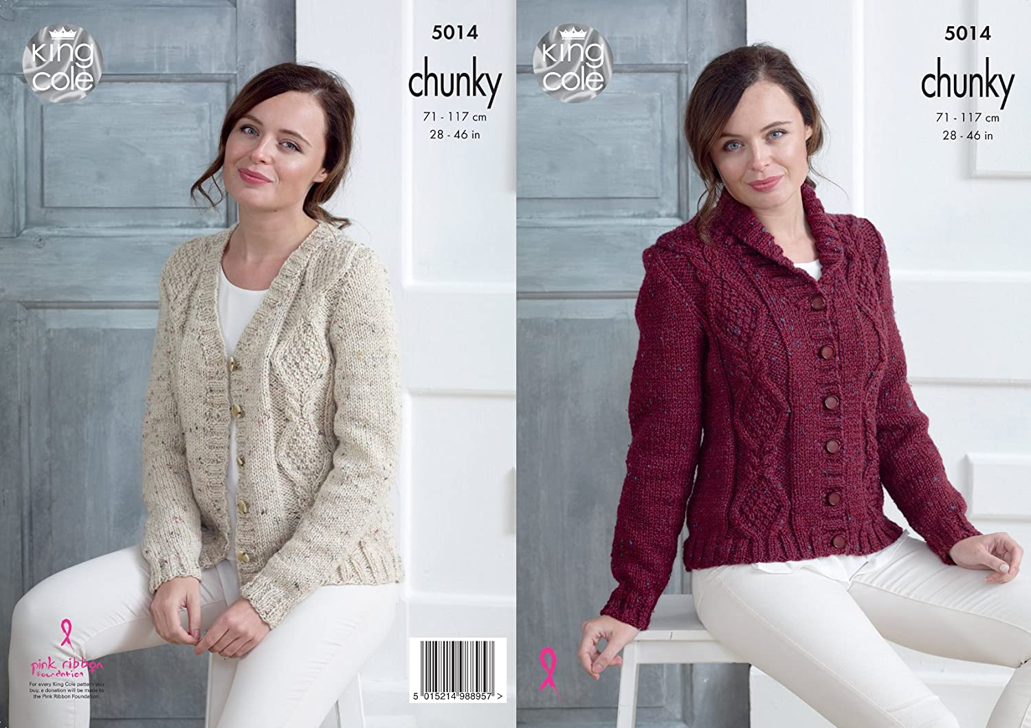 King Cole Ladies Chunky Knitting Pattern Womens Cabled V Neck or Collar Cardigan (5014)