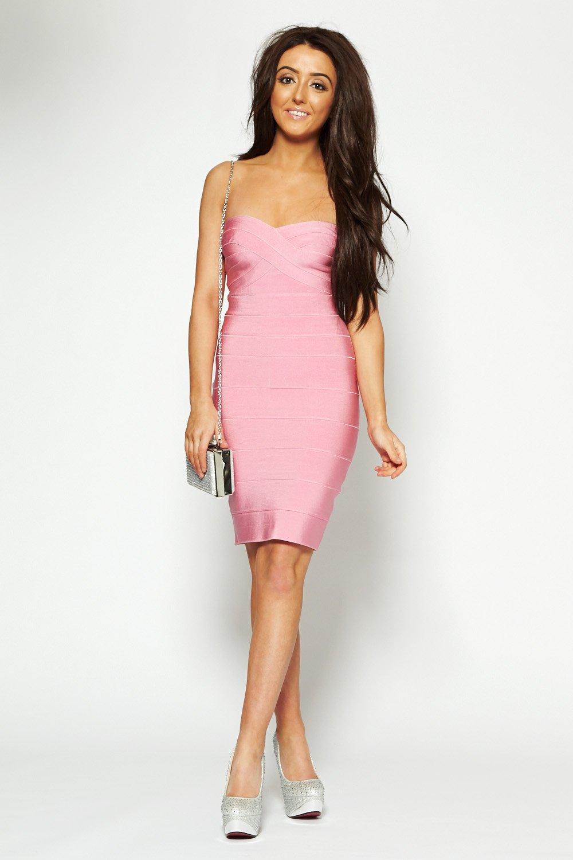 Kirby baby pink strapless bandeau midi bandage dress