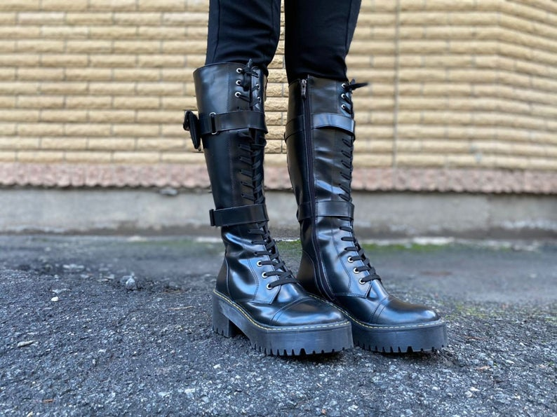 Knee High Boots Gothic Style Platform Boots