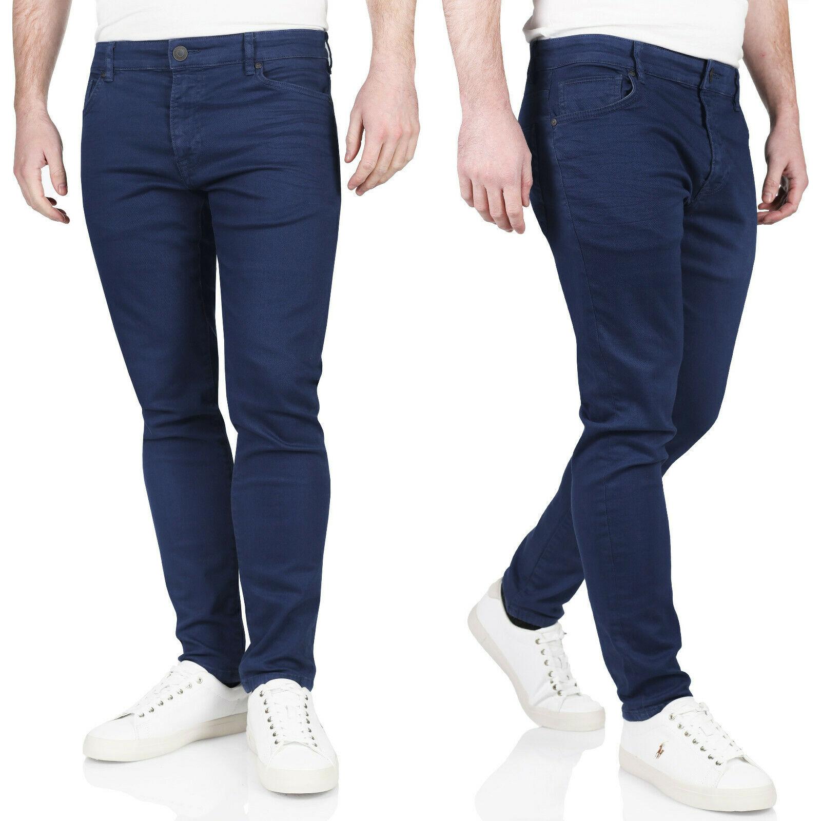 Kruze Mens Skinny Stretch Jeans Slim Fit Flex Denim Trousers Pants All Waists