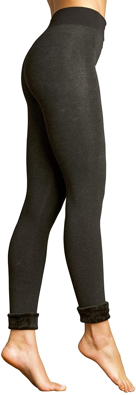 L E M O N Women's Faux Fur Lined Legging Tights