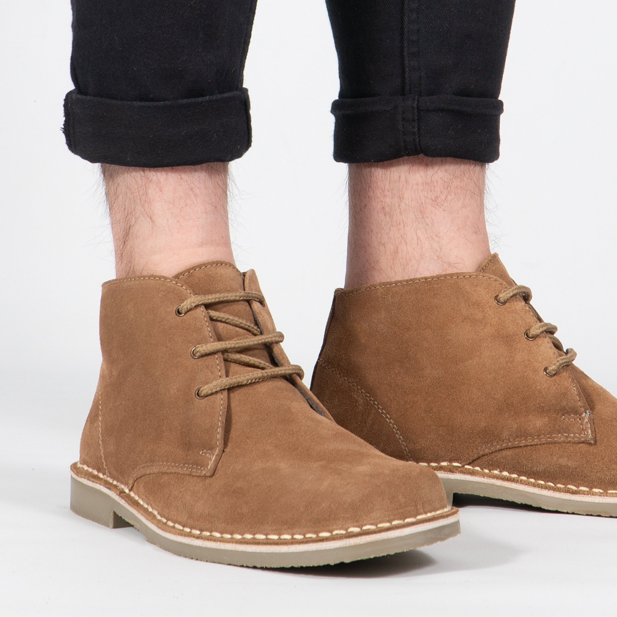 LEONARD Men's Square Toe Suede Leather Desert Boots Sand