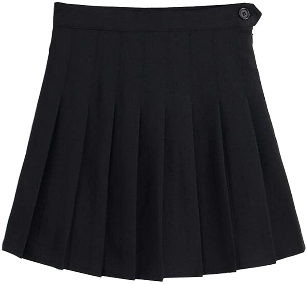 LINGS Women Girls Short High Waist Pleated Skater Tennis School Skirt
