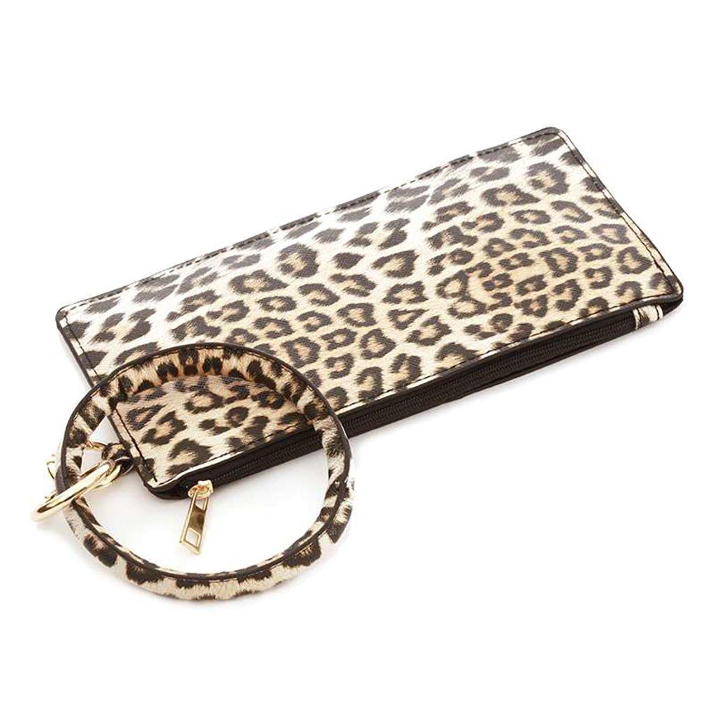 leopard print cuff bracelet and bag