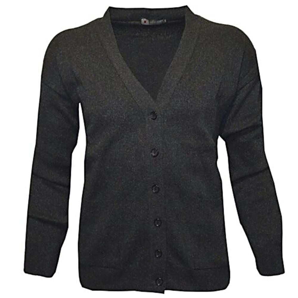 LOUIE JAMES Cotton Acrylic Mens Button Cardigan BLACK