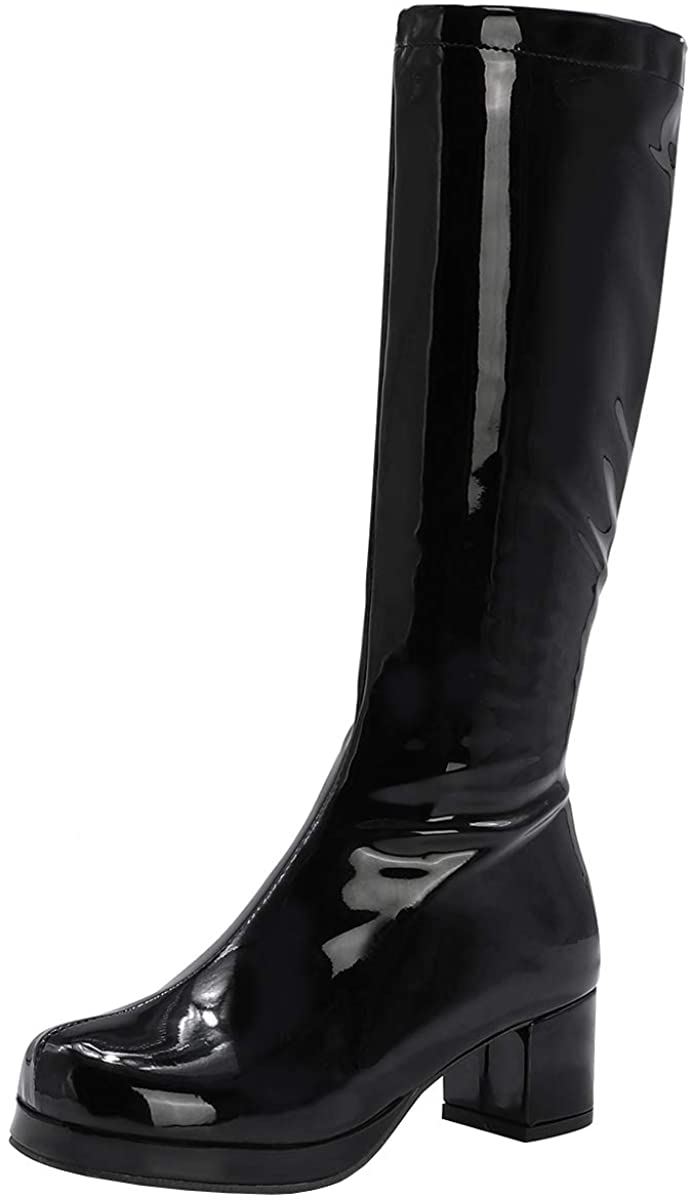 LUXMAX Womens GOGO Chunky Patent Knee High Platform Boots with Zip Up