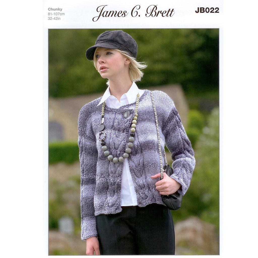 Ladies Cardigan JB022 Knitting Pattern James C Brett Marble Chunky