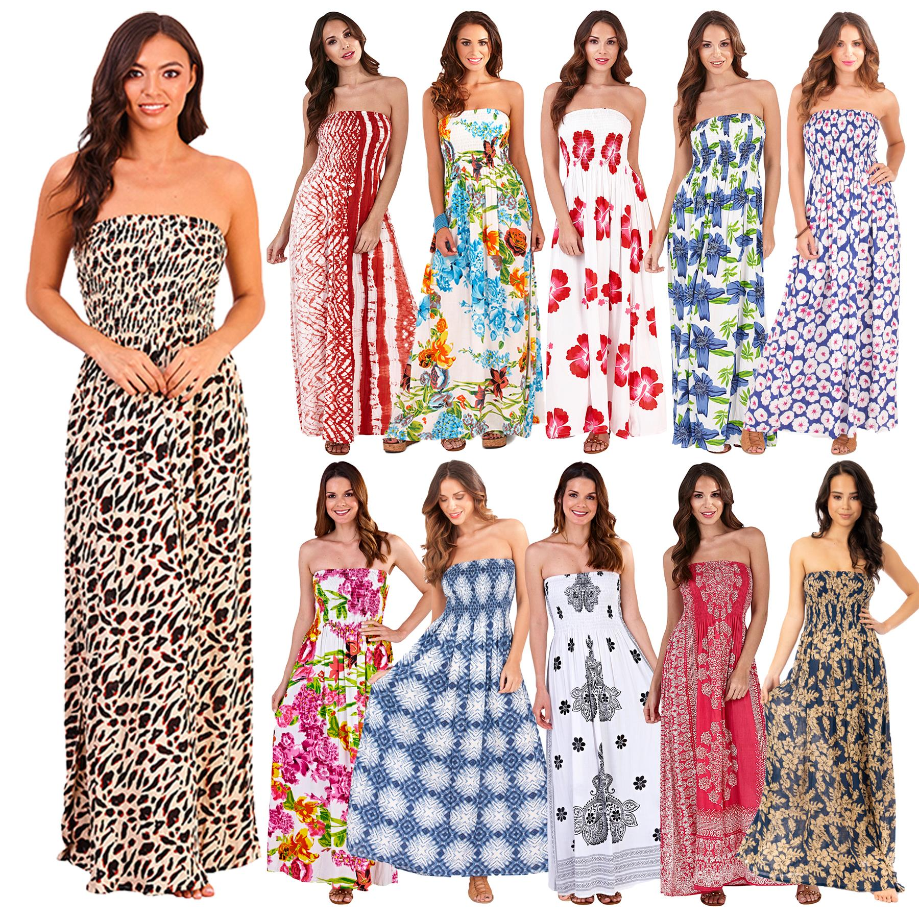 Ladies Pistachio Bandeau Long Maxi Summer Dress Floral Strapless Dresses