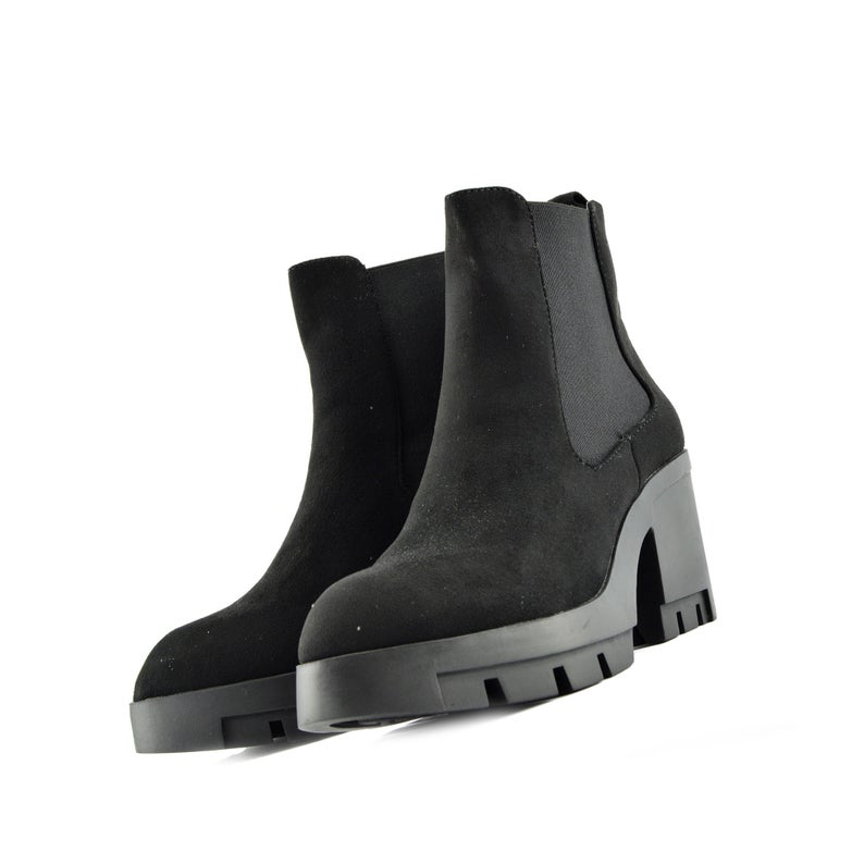 Ladies Platform Ankle Boots Casual Faux Suede Chunky Heel Black