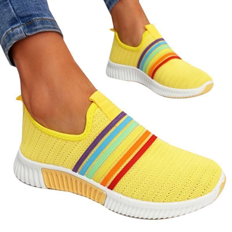 Ladies Rainbow Slip On Sneakers Trainers Heel Pumps Joggers Gym Shoes
