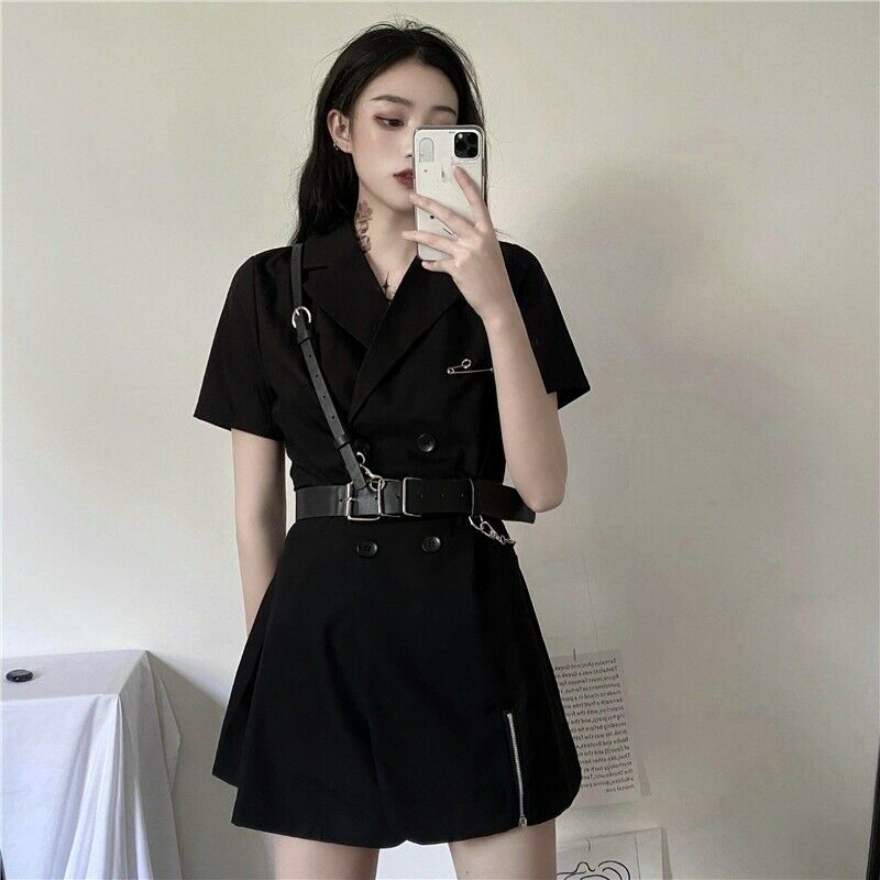 Ladys Punk Gothic with Belt V-neck Suit Double-Breasted Skirt Short Sleeve Top