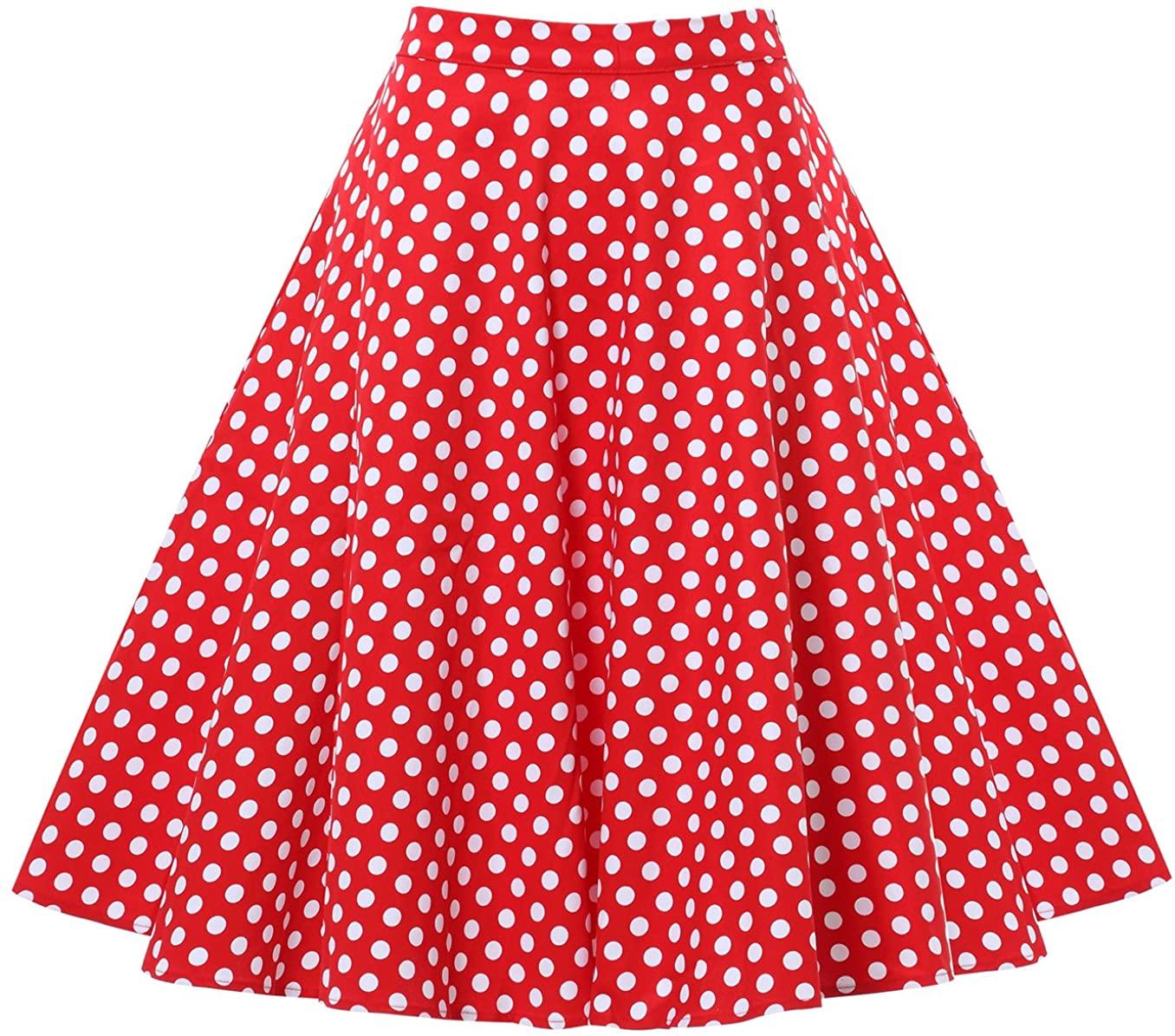 Laorchid 50s Women's Pleated Skirt Swing Inspired Skirts Polka Dot Rockabilly