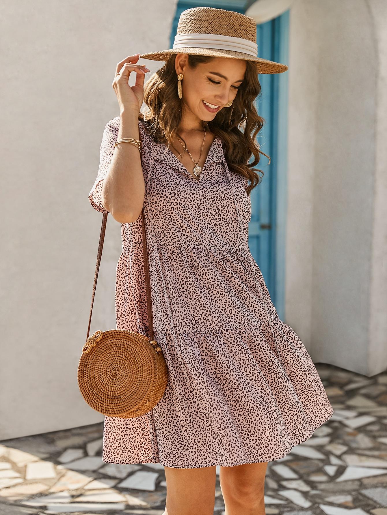 Leopard Print Tiered Mini Dress