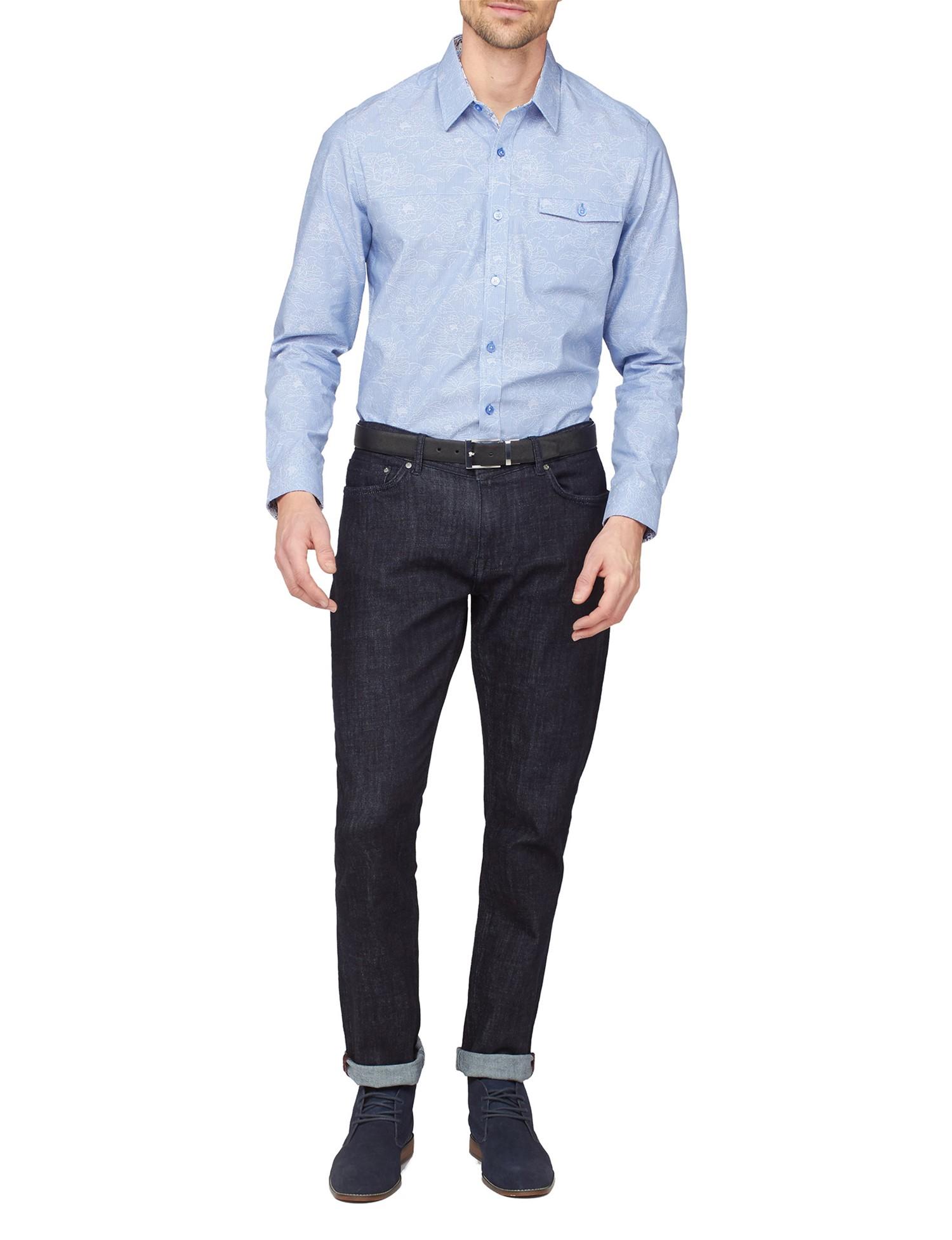 Light Blue Stripe Floral Jacquard Shirt