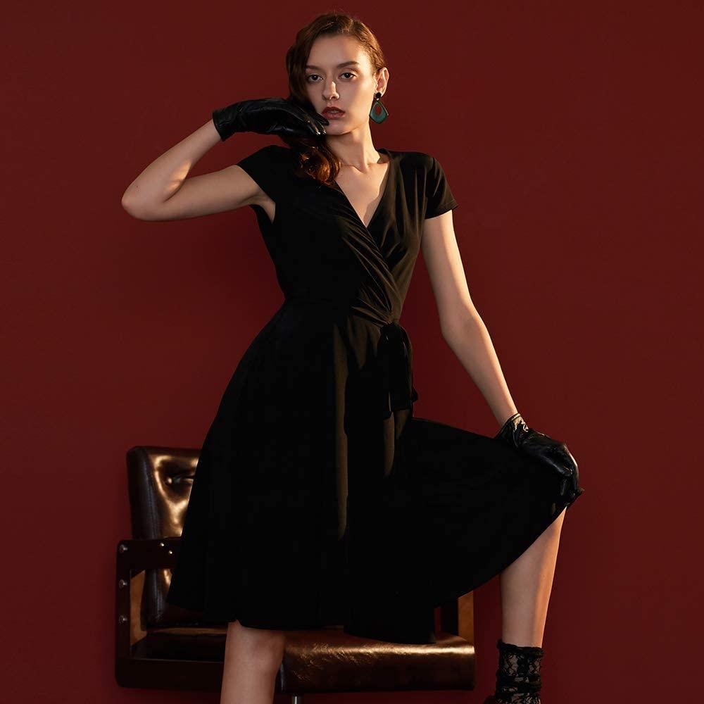 LilySilk Silk Wrap Dress for Women V Neck with Belt Pockets Figure Flattering