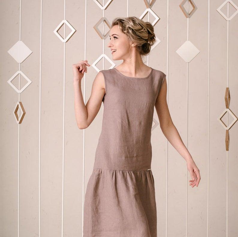 Linen Dress, Drop Waist Dress, Linen Clothing, Linen Tank Dress, Summer Linen Dress, Simple Linen Dress, Sleeveless Dress, Plus Size Linen