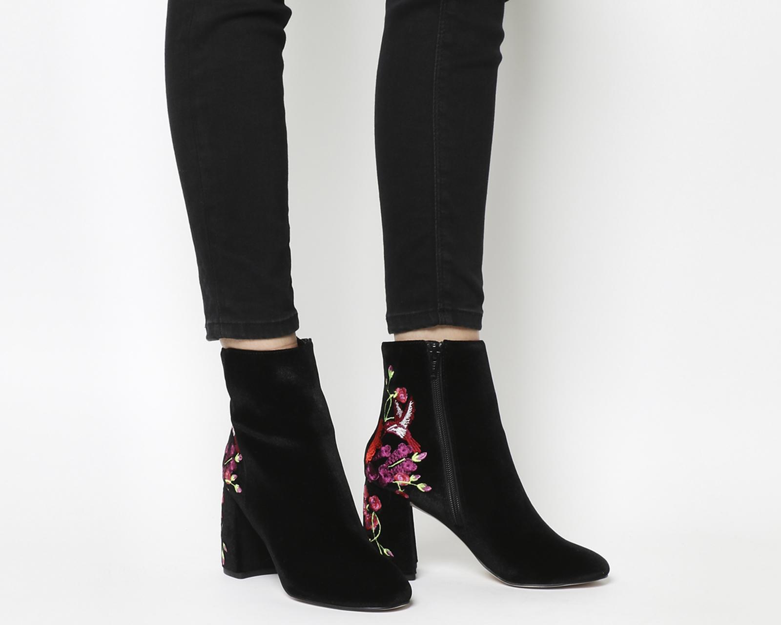 Literally High Cut Boot Black Velvet Embroidered