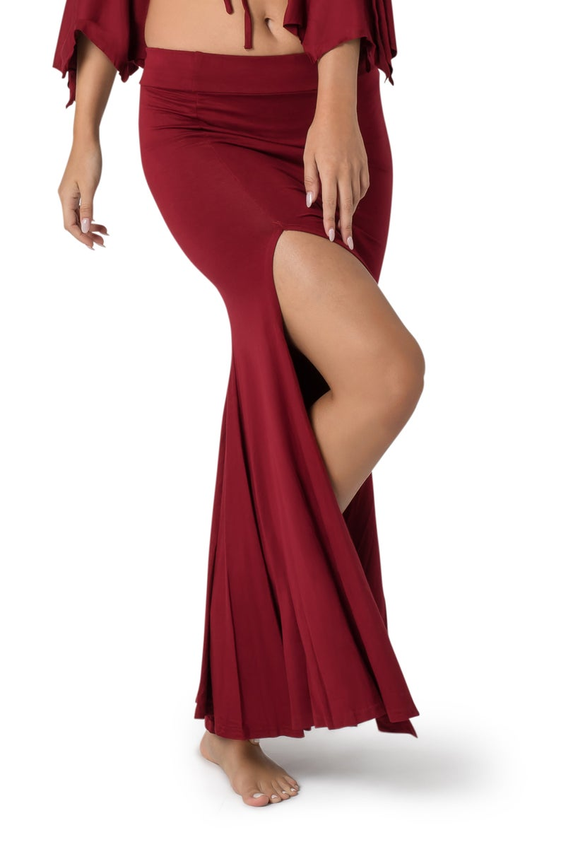 Long Skirt for Women, White Skirt, Belly Dance skirt, Maxi Skirt with Slit, Boho Fashion, Salsa Skirt, Flowing Skirt, Festival Clothes Women