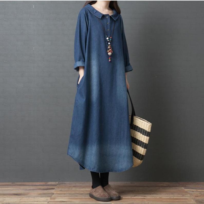 Long Sleeve Cotton Denim Midi Shirt Dress with Pockets