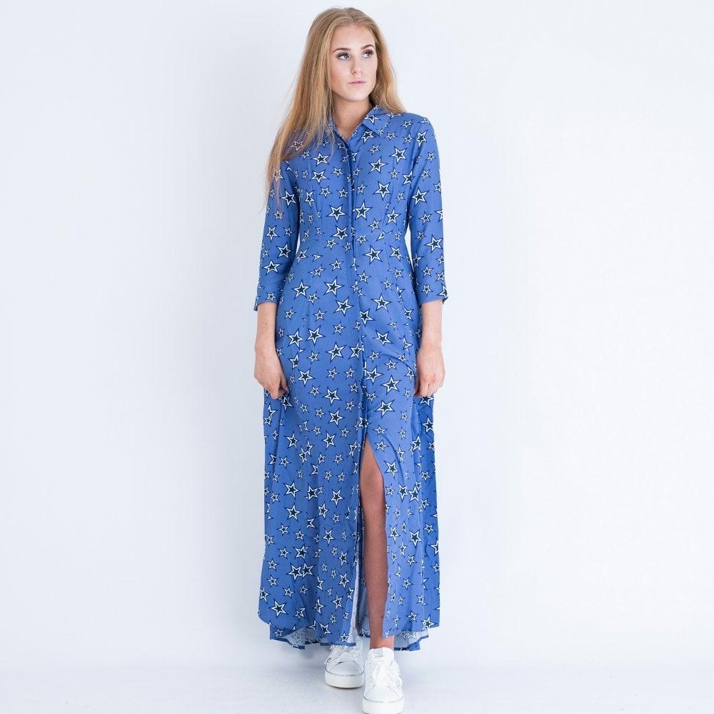 Long Star Print Shirt Collar Dress Blue ROSEDENE