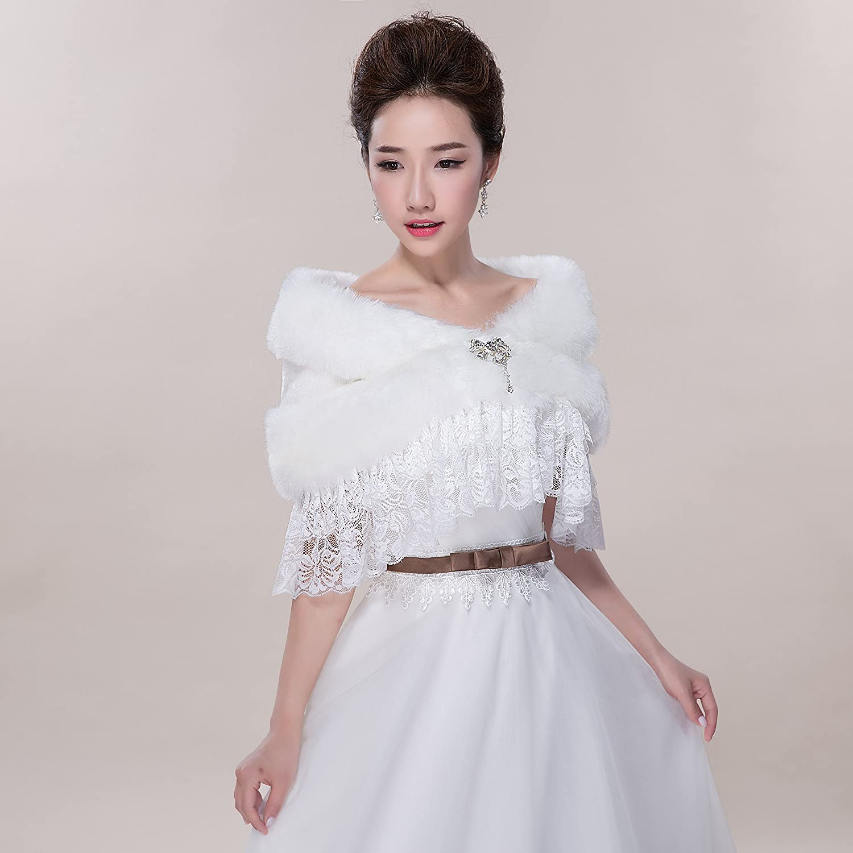 Love Dress Women White Lace Pashmina Shawls for Wedding Dress Accessories