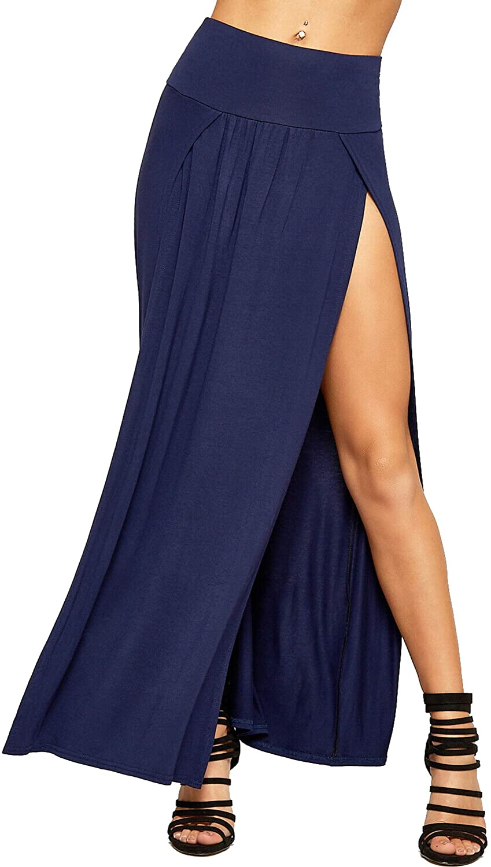Loxdonz Women's Stretchy Split Maxi Long Skirt Plain Side Slit Beach Party Maxi Skirts