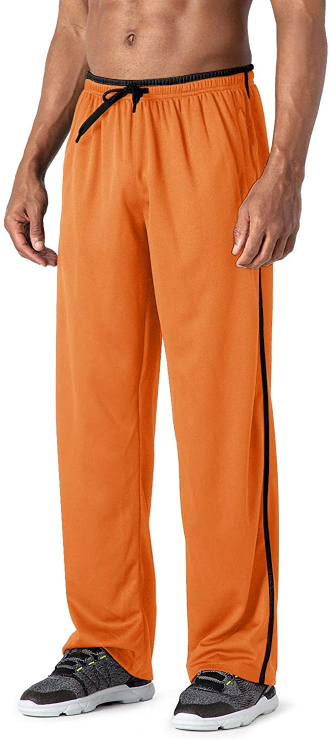 MAGCOMSEN Mens Tracksuit Bottoms Open Hem Lightweight Quick Dry Joggers Trousers Drawstring Lounge Pants Zip Pockets Sweatpants