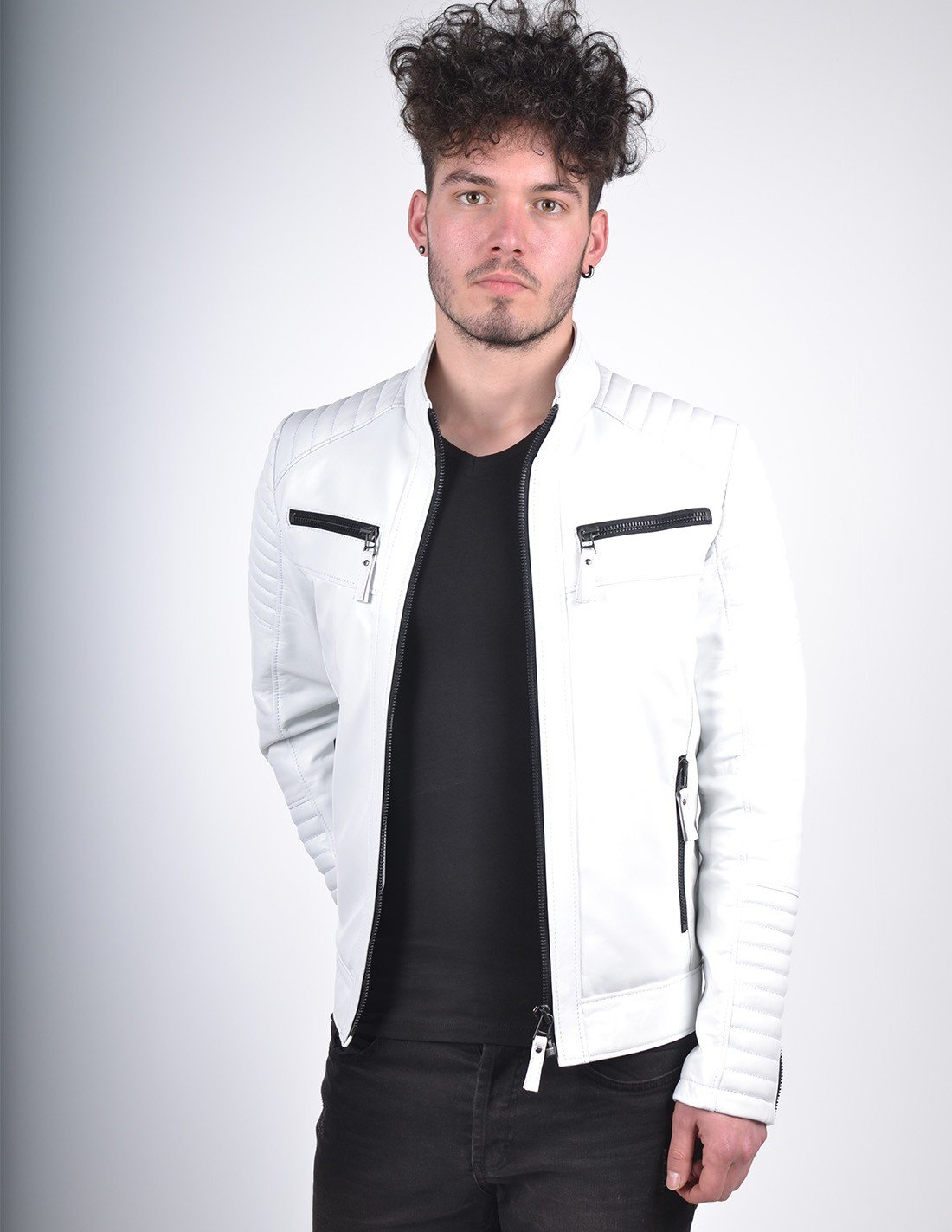 MEN`S WHITE QUILTED LEATHER JACKET