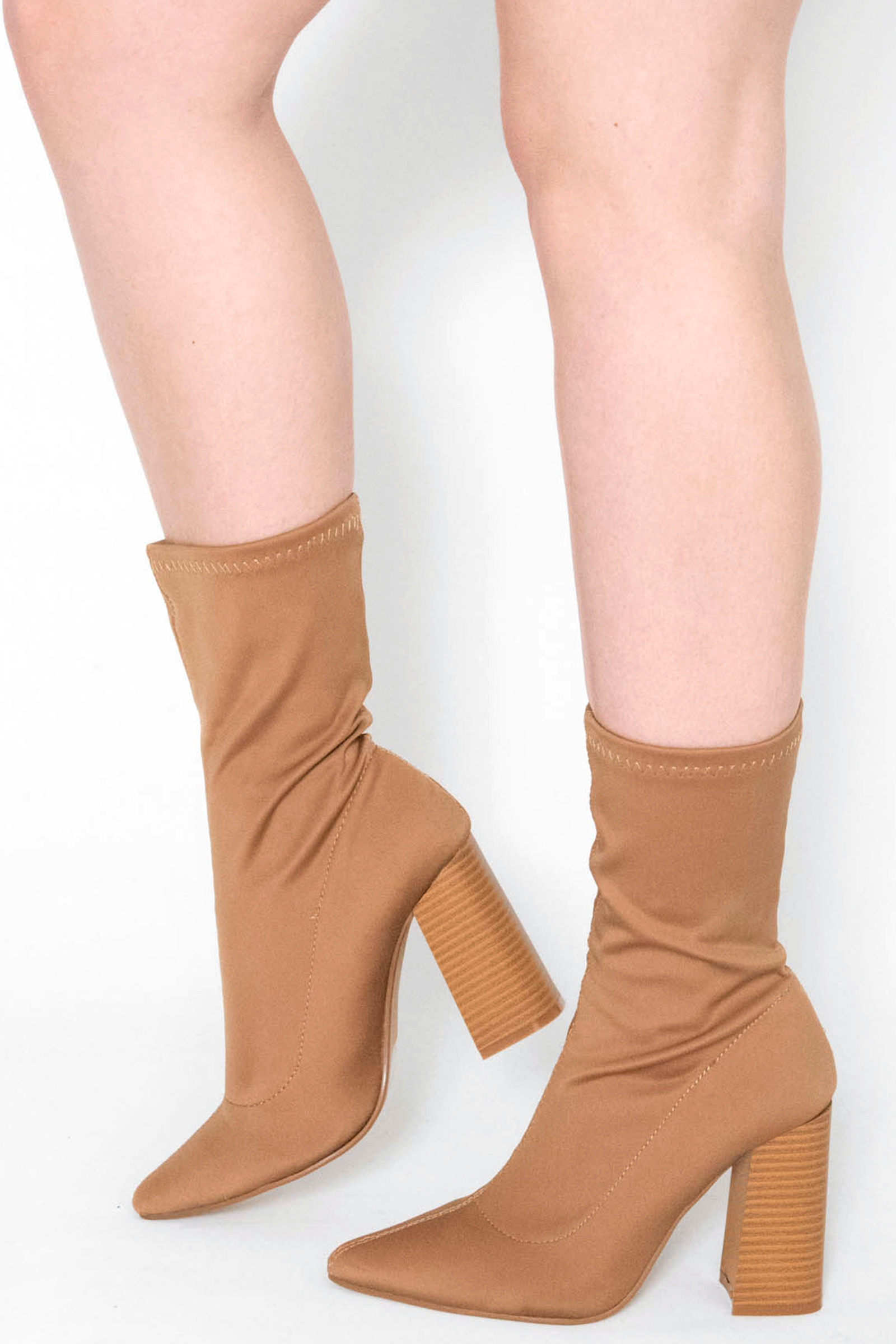 Maaria Mocha Lycra Pointed Ankle Boots