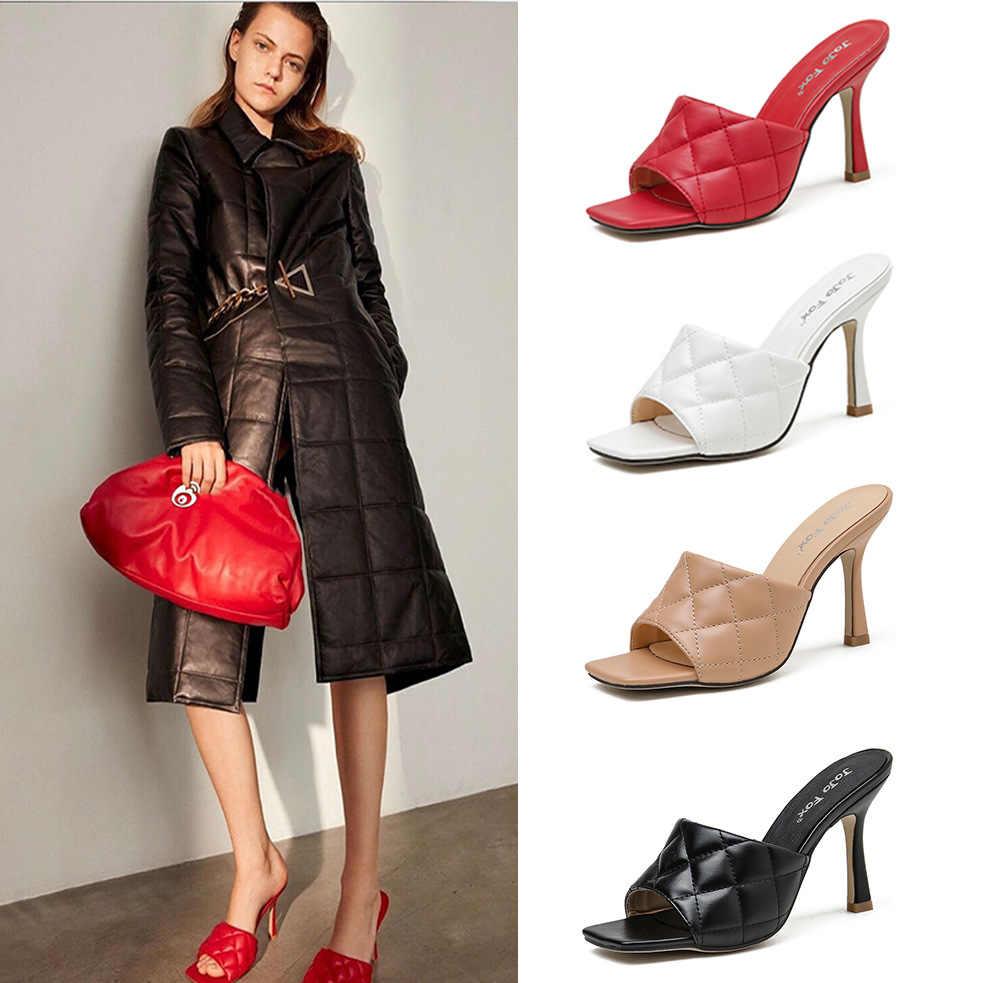 Marian Sqaure Toe Red Quilted Mule Heels Shoe
