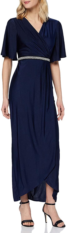 Mela Women's London-Pearl Belt Detail Wrap Front Maxi Dress Casual