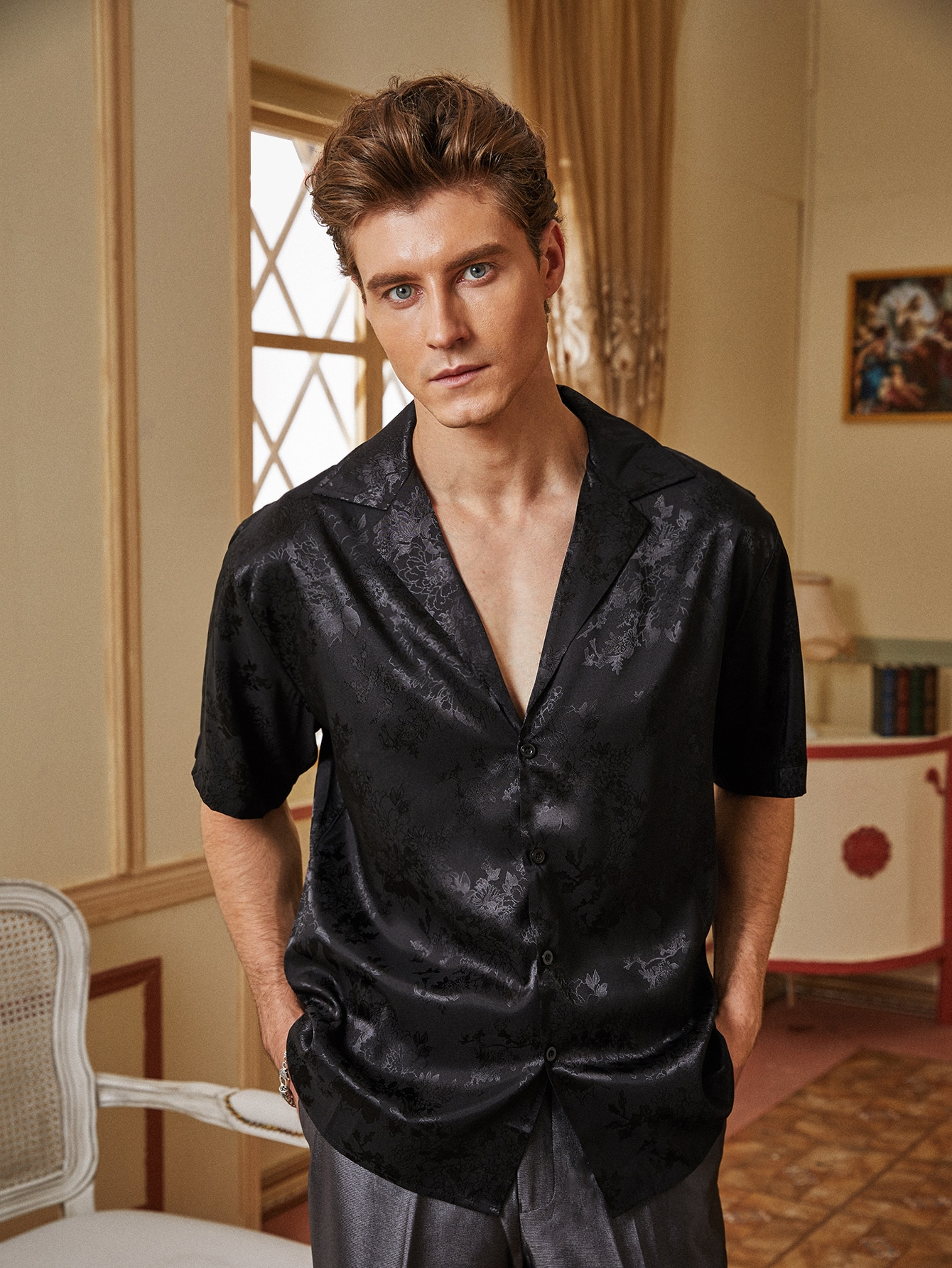 Men Jacquard Button Through Satin Shirt