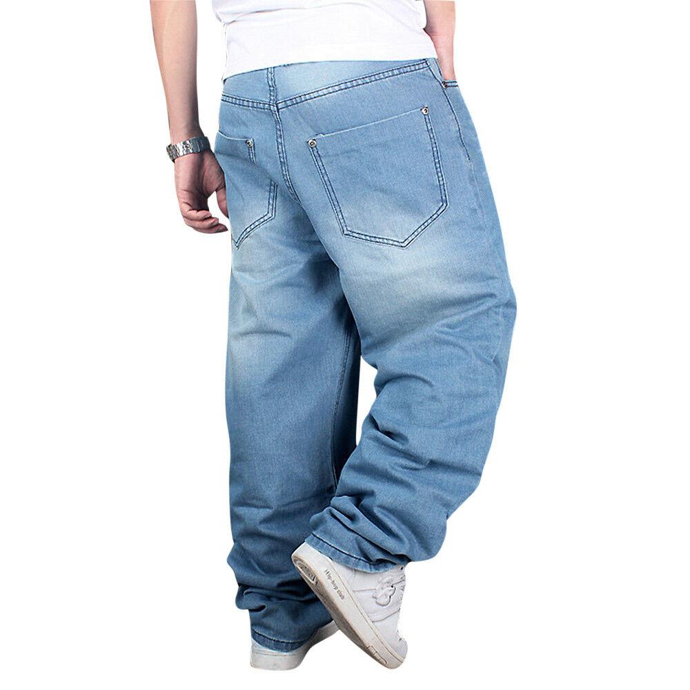 Men Jeans Hip Hop Street Wear Cargo Baggie Pant Stone Wash Loose Plus Size 30-42