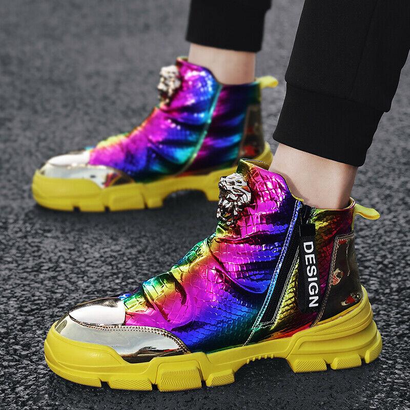 Men Metal Toe High Top Sneakers Ankle Boots Side Zipper Shoes Bling Glitter Lp00
