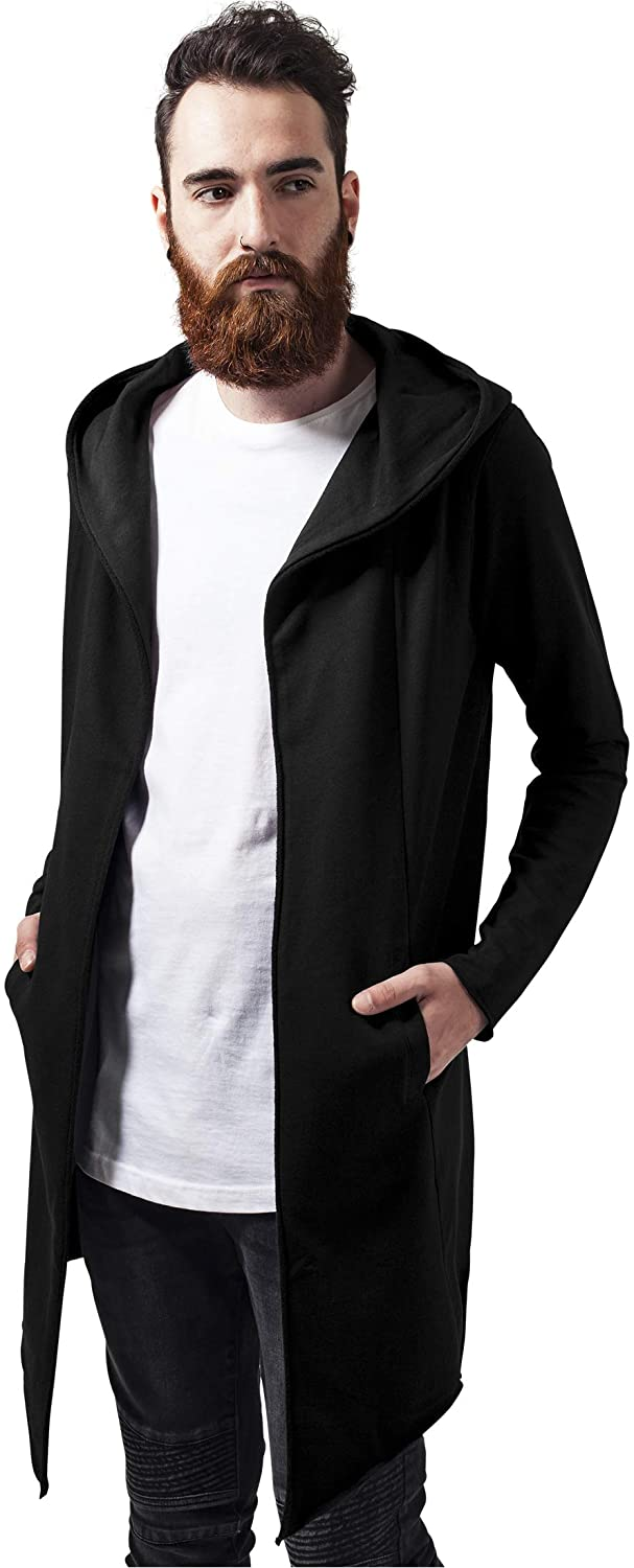 Men's À Capuche Long Frayed Sleeve Sweatshirt with Hoodie, Open Front Cardigan