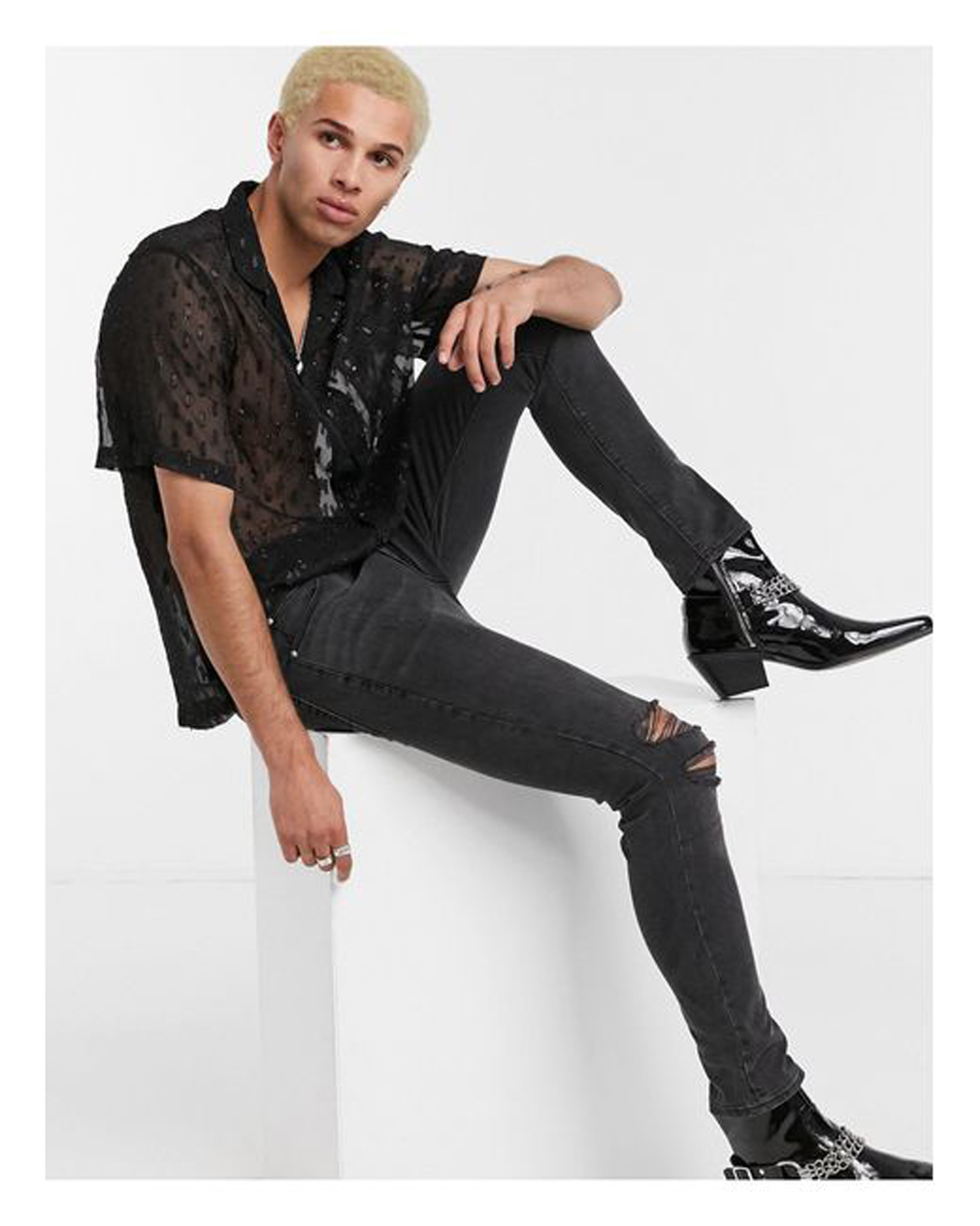 Men's Black Regular Fit Sheer Burnout Shirt With Revere Collar