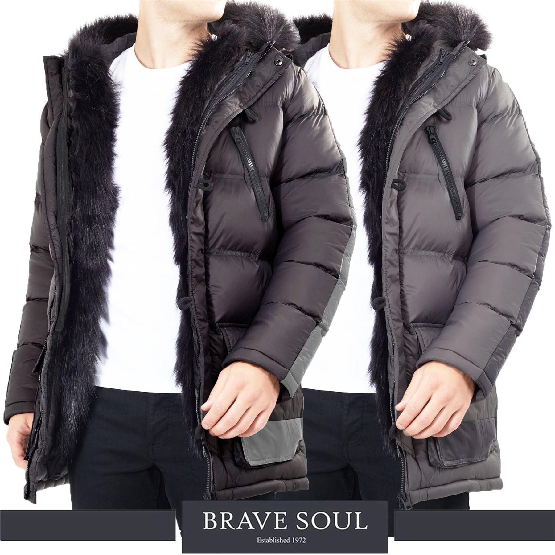 Mens Brave Soul Padded Faux Fur Lined Trim Hood Puffer Jacket Winter Bubble Coat