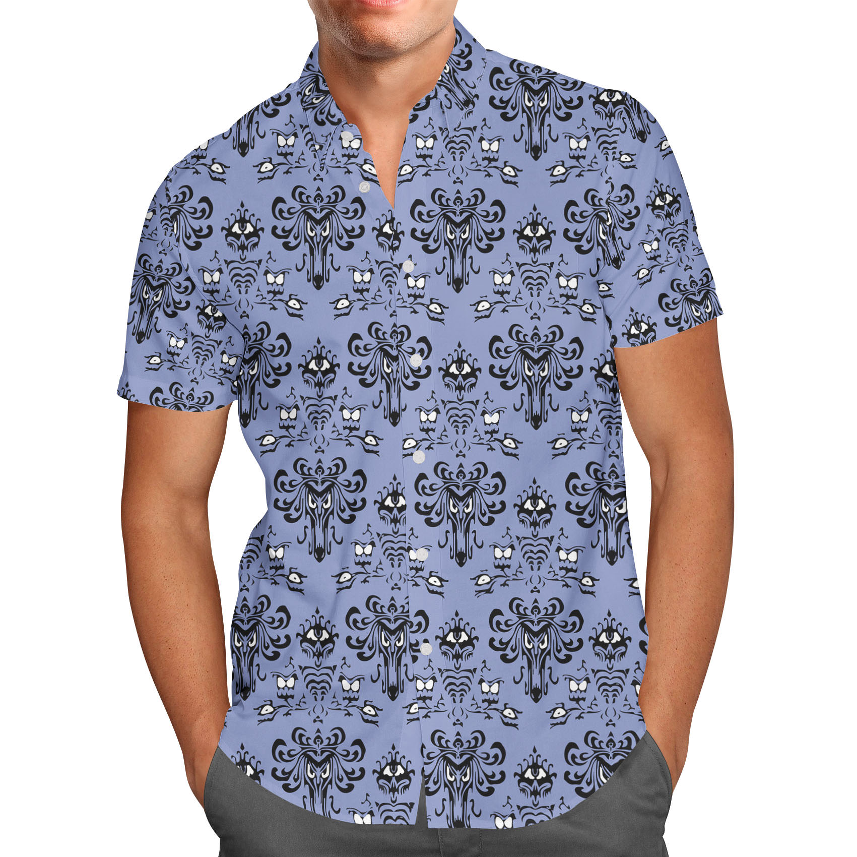 Men's Button Down Short Sleeve Shirt - Haunted Mansion Wallpaper