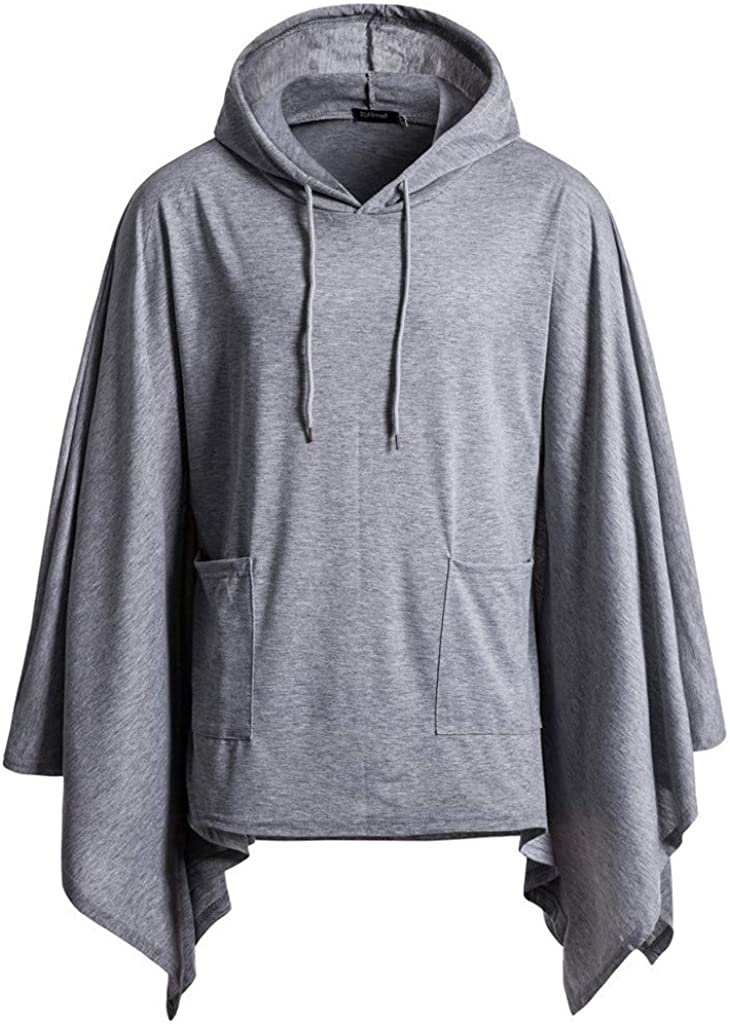 Men's Casual Hooded Pullover Poncho Cape Coat with Pocket Pocket Irregular Patchwork Loose Bat Sleeves Hooded Cloak Cape Coat Goosun Male top Home Sportwear