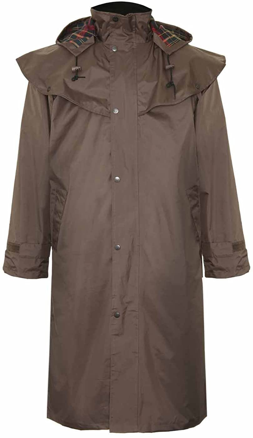 Mens Champion Highgrove Full Length Waterproof Fabric Lightweight Lined Riding Cape Coat Jacket Trench Coats Macs Lined Detachable Hood Taped Seams Walking Outdoors Countrywear Riding Fishing