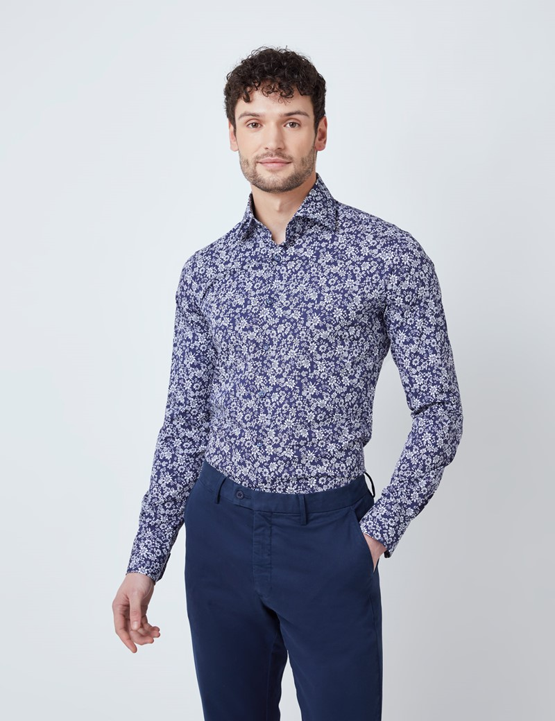 Men's Curtis Navy & White Floral Print Stretch Slim Fit Shirt