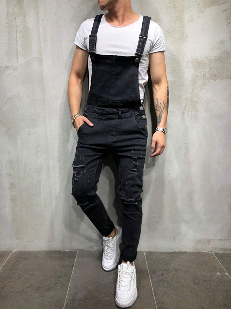 Mens Denim Dungaree Bib Overalls Jumpsuits Moto Biker Suspender Jeans Pants Trousers
