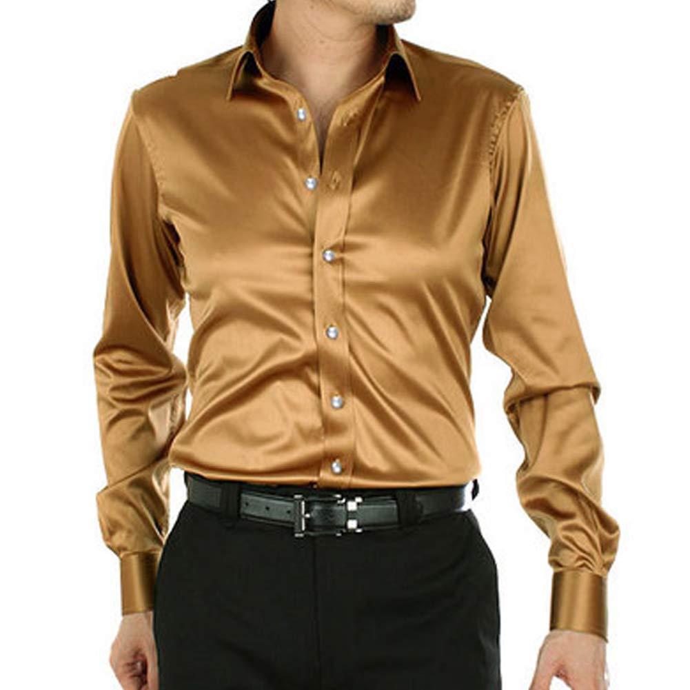 Men.s Formal Silk Satin Shirts Crystal Button Long Sleeve Business Wedding Suit Regular Fit Plain Dress Weekend Attire 15 Colors