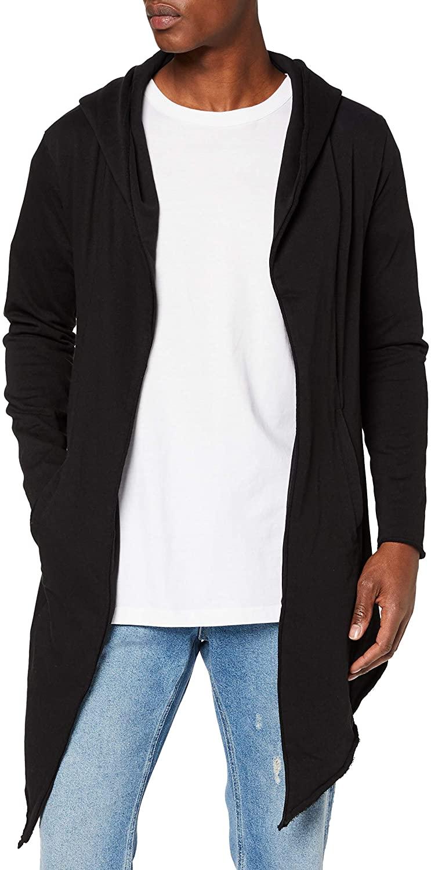 Men's Hooded Edge Long Frayed Sleeve Sweatshirt with Hoodie, Open Front Cardigan