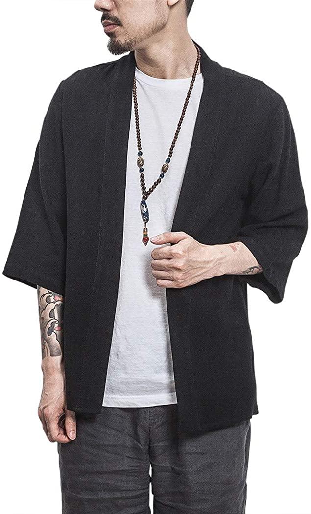Men's Japanese Style Robes Kimono Pajamas Suit Cloak Poncho Cape Coat Cardigan