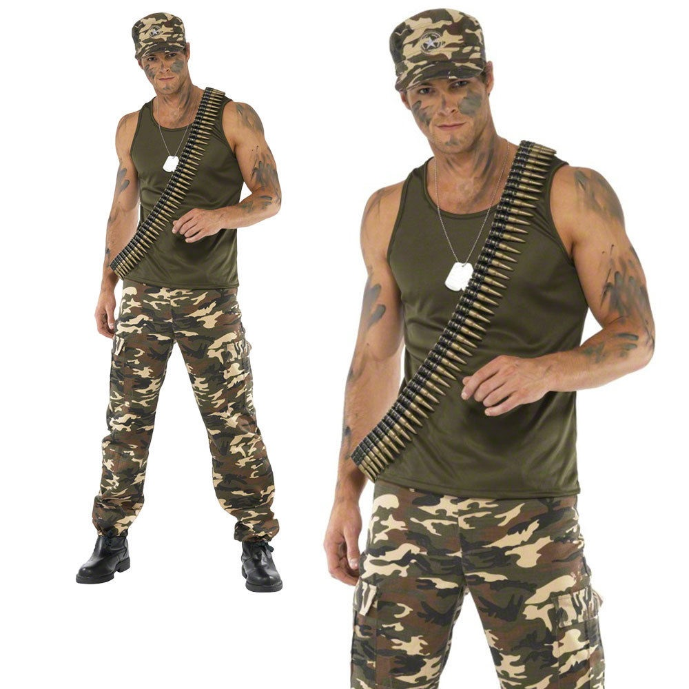 Mens Khaki Camo Army Costume Soldier Fancy Dress Camoflage War Outfit M L
