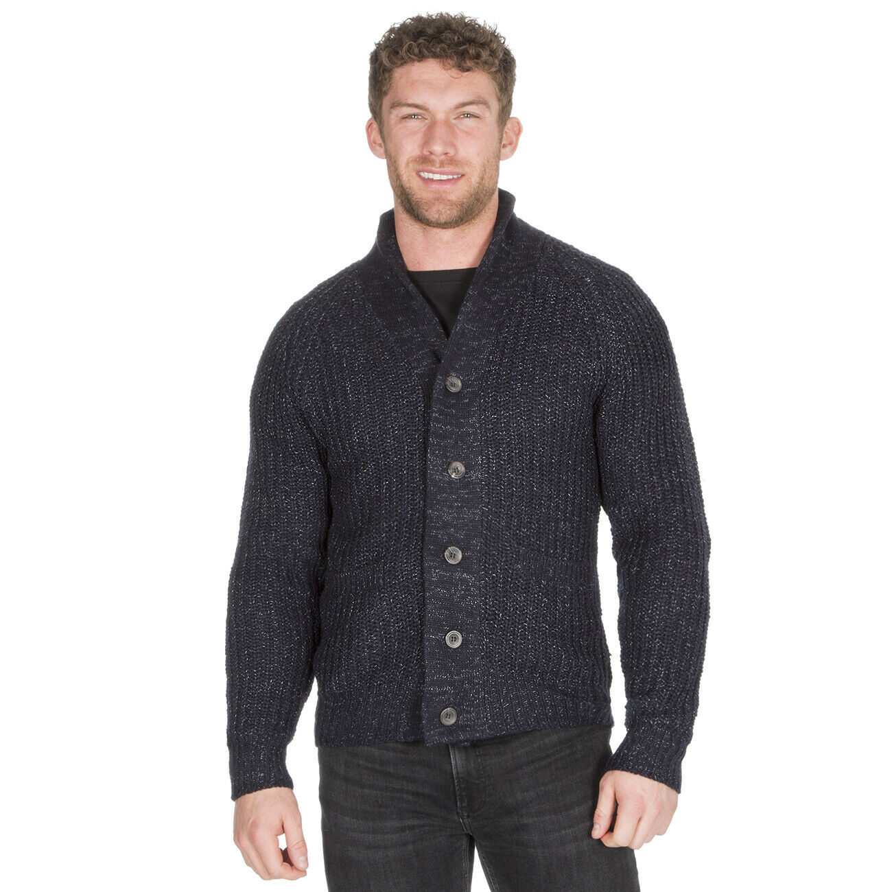 Mens Knitted Cardigan with Buttons Shawl Collar