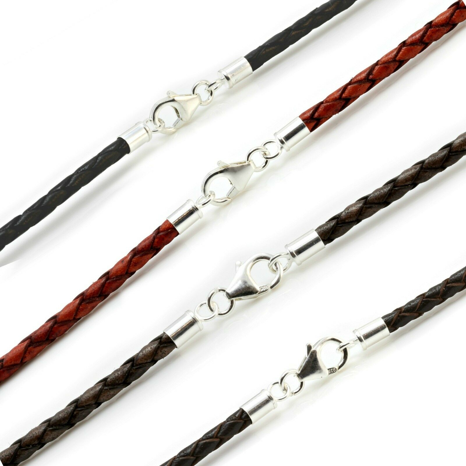Mens Leather Necklace-925 Sterling Silver Clasp-3mm Braided Cord Man Necklace