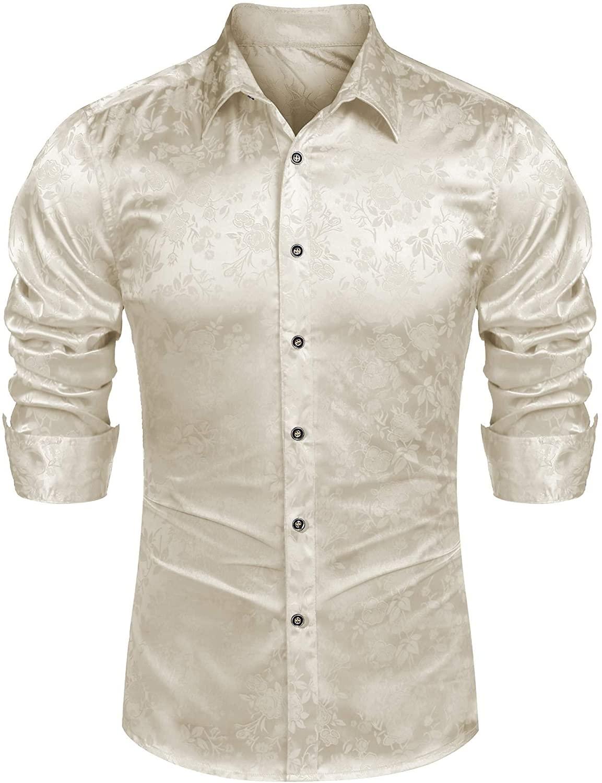 Mens Long Sleeve Shirt Casual Tuxedo Paisley Formal Slim Fit Silk Shirts