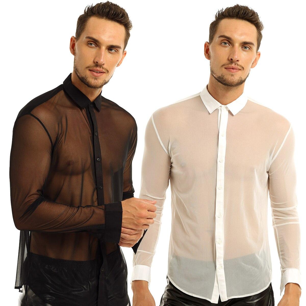 Mens Mesh See Through Shirts Long Sleeve Transparent Tee Top T-Shirts Club Wear